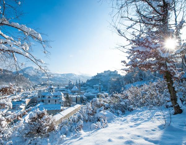 Достопримечательности Зальцбурга, Зальцбург зимой, зимний Зальцбург, красивая зима, снежная зима, зимняя Европа