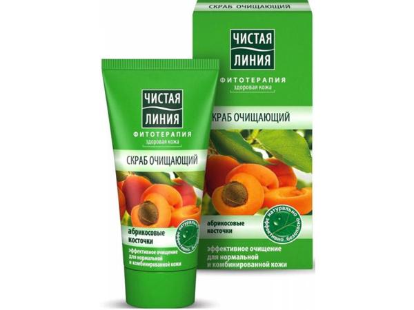 Российская косметика. Очищающий скраб с абрикосовыми косточками от Чистая линия